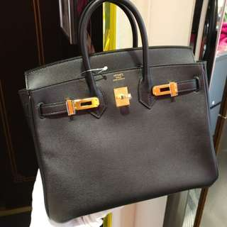 Hermes birkin 25 in black A stamp