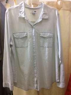 Old Navy Light Wash Denim Chambray Shirt
