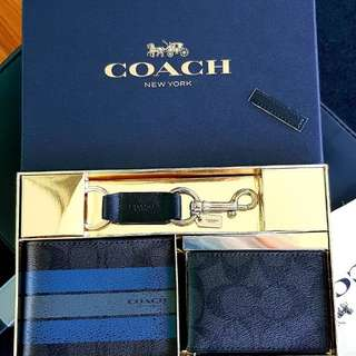 Authentic Coach Men Wallet Set - Varsity Leather