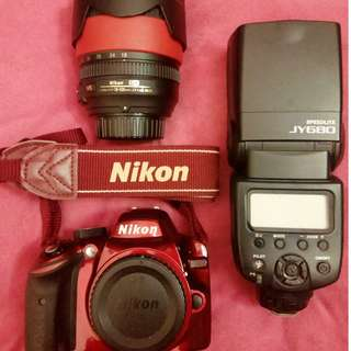 (USED) NIKON D3200 BODY + LENS ( LIMITED RED EDITION )