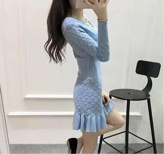 Baby blue knit dress