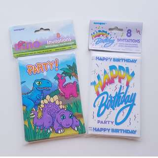 Dinosaur Dino rainbow theme party invitation card set of 2, 8 cards in each #happybirthday #party #kids
