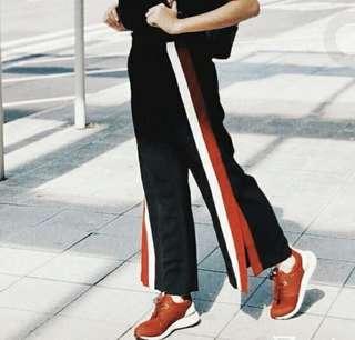 Tri color pants w/ slit