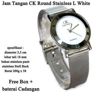 jam tangan ck Stainless pasir round L white