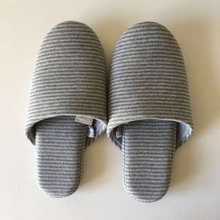 Muji cotton knitted soft slippers L grey border