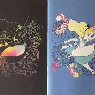Japan💓Disney Alice in the wonderland notebooks x2 blue & black