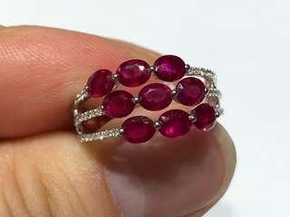 18K白金紅寶石鑽石戒指