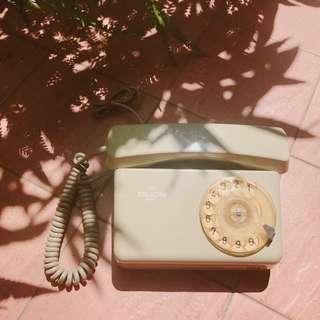 VINTAGE 古著 早期 收藏 波蘭製 80年代 淡灰綠色 懷舊 老式 轉盤 手撥 電話 / 擺設