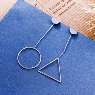 三角圓型韓版耳環