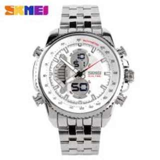 SKMEI AD0993 WHITE WITH STAINLESS STEEL STRAP WATCH FOR MEN  COD FREE SHIPPING