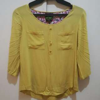 Yellow 3/4 Sleeves Blouse by Mint