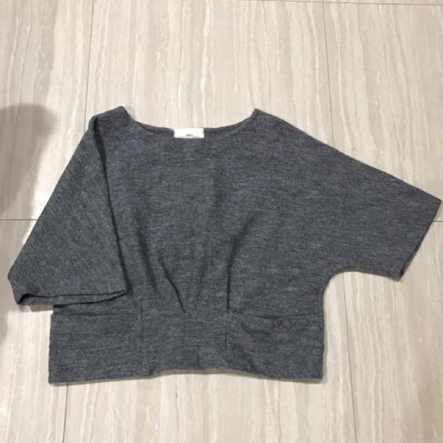 $150正韓毛呢短版寬袖上衣