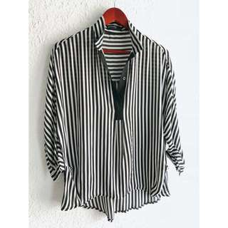 韓版 雪紡襯衫立領開襟前短後長直條紋罩衫寬鬆大碼女裝上衣