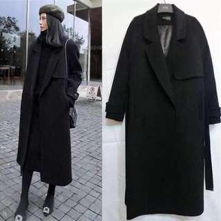 毛呢大衣外套 長版 黑色