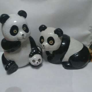 Panda family piggy bank