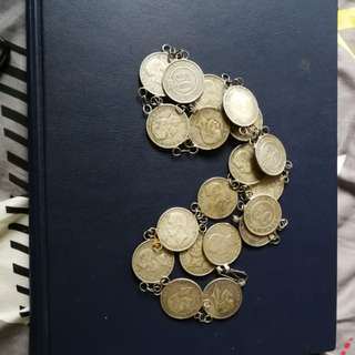 NONYA silver coins belt of 1900  with 18 pcs of Sarawak 50 cents and 1 SS Victoria 50cents coin total 19 pcs of 50cents wow