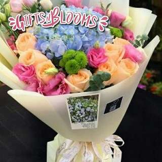 Fresh Flower Bouquet Anniversary Birthday Flower Gifts Graduation Roses Sunfowers Baby Breath -  30D4E