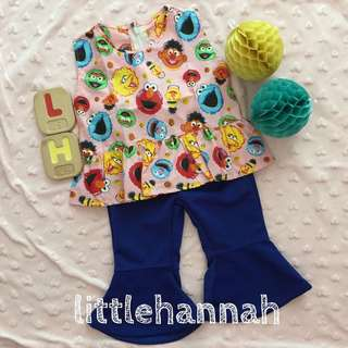 🍪Instock - Baby Toddler Girl Kids Sesame Street Elmo Peplum Tops (6-24m) and Electric Blue Bell Bottom Pants (1-2Y)