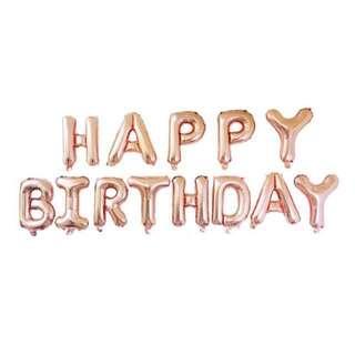 Happy Birthday Foil Balloon (Rose Gold)