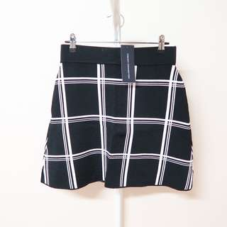 French Connection Black & White Checked Grid Knit Skirt