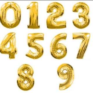 Gold Foil 32 Inch Number Balloon