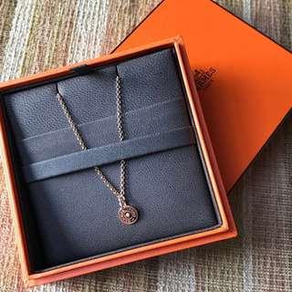 🆕HERMÈS Hermes 玫瑰金鑽石項鍊