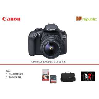 EOS 1300D ( EFS 18-55 IS II). 3 Years Warranty from Canon Malaysia.Foc Sandisk 16gb, Extra Battery and Canon Bag. READY STOCK
