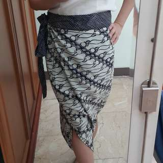 culotte wrap batik parang blue