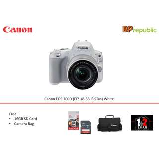 EOS 200D (EFS 18-55 IS STM) White. 3 Years Canon Malaysia Warranty. READY STOCK