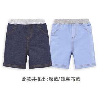 Little-moni-美式休閒牛仔針織短褲-深藍/丹寧布藍