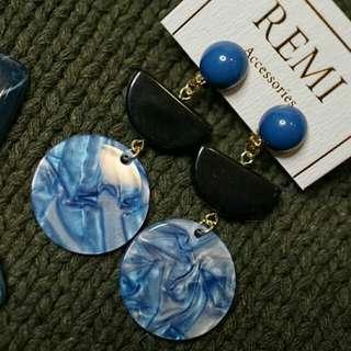 ◈藍色貝殼紋 耳夾 *現貨