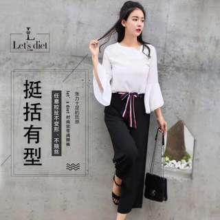 預購  韓國正品 Let's diet 蕾絲黛絲  時尚擴腿褲  褲子 黑色