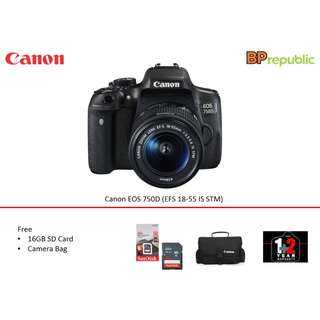 EOS 750D (EFS 18-55 IS STM). 3 years warranty by canon malaysia. READY STOCK NOW