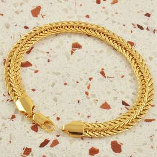 Mens Fashion Classic 9K Gold Filled Snake Bracelet Gold