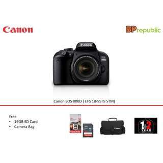 EOS 800D ( EFS 18-55 IS STM). 3 Years Warranty From Canon Malaysia. READY STOCK NOW
