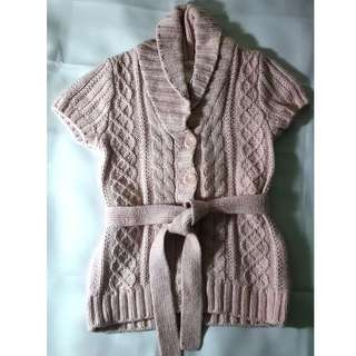 H&M LOGG Shawl Neck Short Sleeves Cable Knit Cardigan