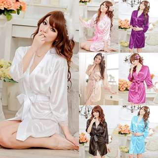 Women Lingerie Sexy Satin Robe Pajamas Nightdress M