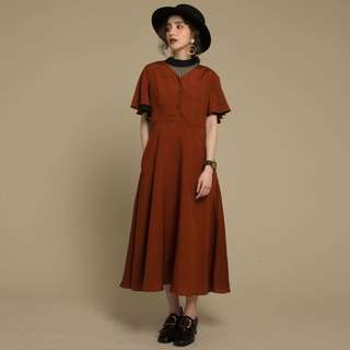 Dresseum從前從前卡門旋律棗紅色洋裝xs茂木太太