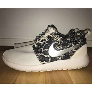 Nike Roche white and animal print trainer