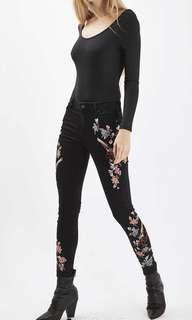 Topshop Jamie Jeans Embroidered Black