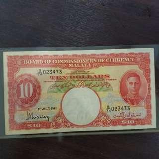 Malaya & British King George $10