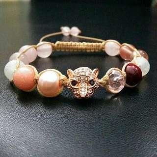 Rose Gold Leopard Gemstones Shamballa Macrame Adjustable Straps Bracelet Women Power Stone Gifts Birthday Presents for Her