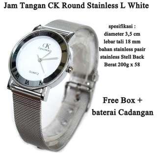 jam tangan Wanita ck Stainless pasir Round L white