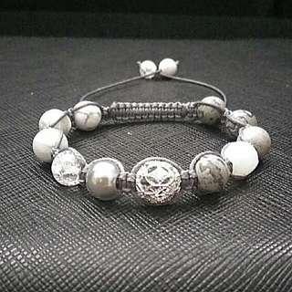 Shades of Grey Gemstones Shamballa Macrame Adjustable Straps Bracelet with Silver Karma Bead, Grey Jasper, Cracked Agate, Howlite,