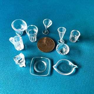 Miniature plates, bowl, glass, cups, crafts - 10pcs
