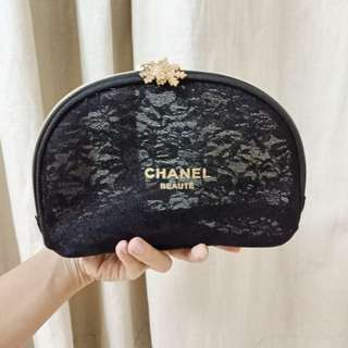 Chanel makeup lace pouch original VIP cosmetic case Gift