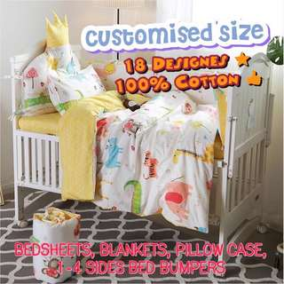🎪NEW❗️Customised kid's bedsheets (bumper bed) for home/childcare 🚗18 designs🌵