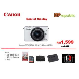 Canon EOS M10 Kit (EF-M 15-45 IS STM), Come with Sandisk 16gb card, bag, Extra Battery and 3 years warranty from Canon Marketing Malysia