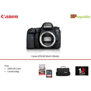 EOS 6D Mark II (Body). 1+2 Years Canon Marketing Malaysia Warranty . Promo till 1th May 2018