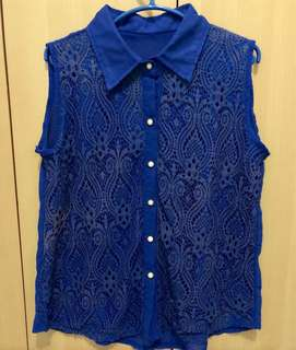 Blue Laced Sleeveless Too